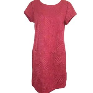 Chelsea & Theodore red Embroidered shift Dress Med